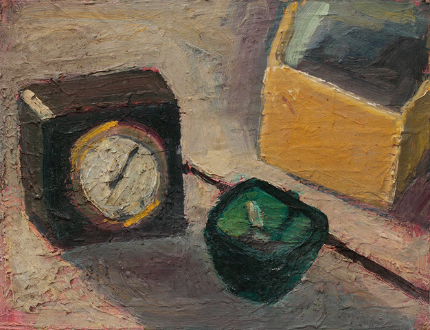 Clock,_Ashtray_1962_Oil_on_cardboard_16_X_21