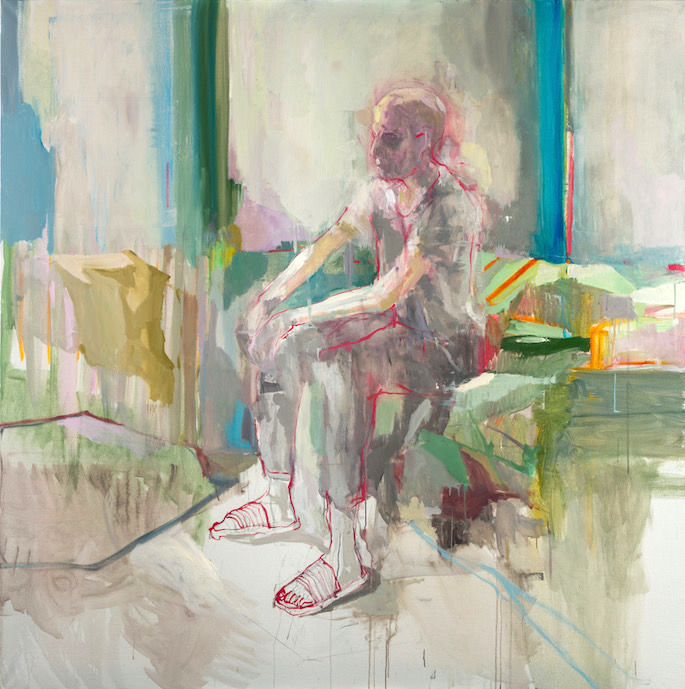Cyrille assis, 2020   Oil on canvas   75 x 75 inches