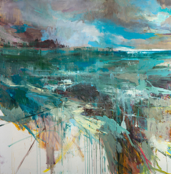 Grande vague et rochers, 2020 | Oil on canvas | 75 x 75 inches