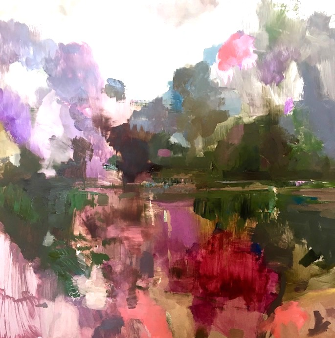 Petit Lac Rose 2, 2020   Oil on aluminum board   20 x 20 inches